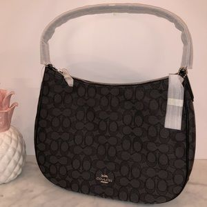 Coach black & charcoal signature canvas hobo NWT😎